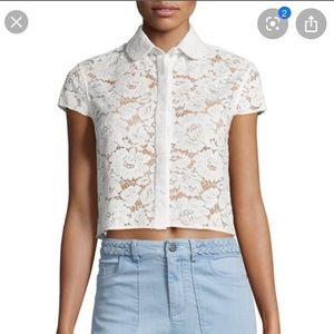 ALICE & OLIVIA lace collared shirt, sz 2